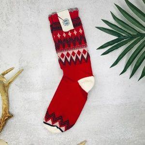 Free People Red Holiday Metallic Christmas Socks